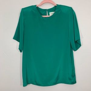 Vintage   80's Green Shimmery High Neck Blouse
